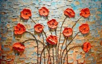 Oil Painting Red Poppy Floral Wallpaper Mural