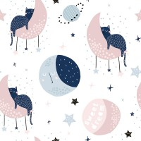 Cute Sleeping Cat on the Moon Wallpaper Mural