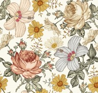 Kids Peony and Daisy Floral Wallpaper Mural