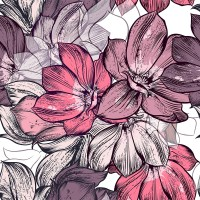 Magnolia Flower Pattern Wallpaper Mural