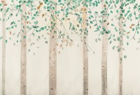 Watercolor Style Forest with Green Brown Little Leaves Wallpaper Mural