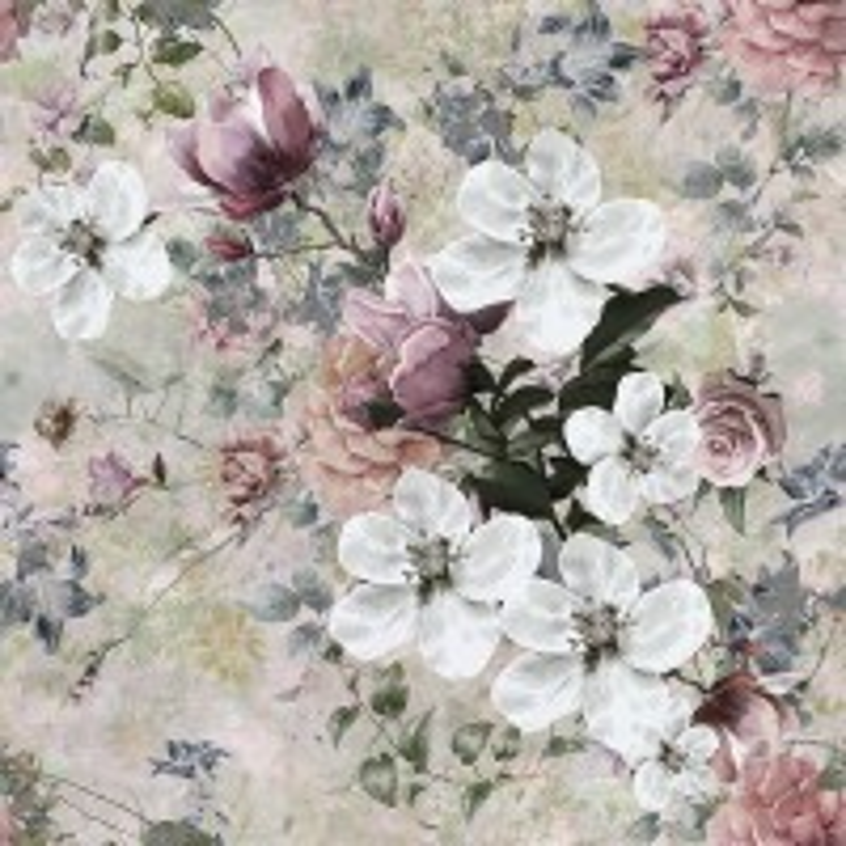 Watercolor Vintage Floral Wallpaper Mural