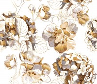 Whitish Floral Wallpaper Mural