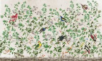 Tropical Green Leaves with Stork and Duck Wallpaper Mural