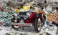 Vintage Car with Graffiti Brick Wall