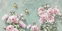 Vintage Pink Floral and Yellow Butterfly Wallpaper Mural