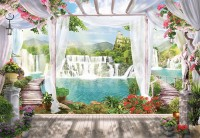 3D Look Waterfall Landscape and Scenic Garden Wallpaper Mural