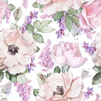 Watercolor Pink Floral Pattern with Wisteria Wallpaper Mural