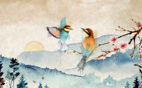 Watercolor Winter Landscape and Colorful Bird Wallpaper Mural