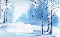 Watercolor Winter Tree Landscape Wallpaper Mural
