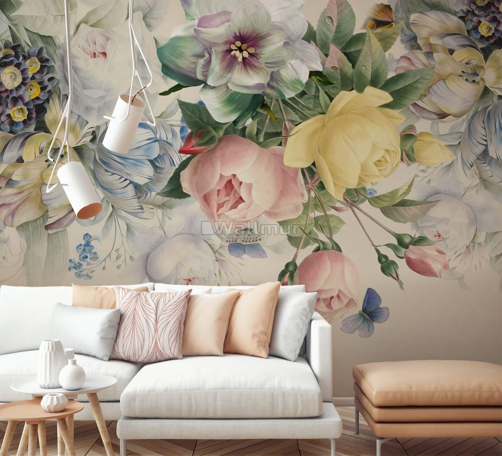 Vintage Colorful Floral Wallpaper Mural Wallmur