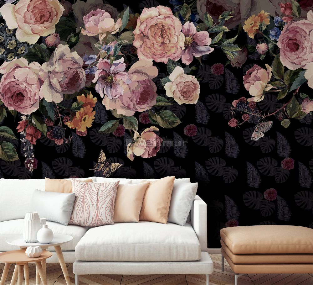 Vintage Dark Pink Flowers Wallpaper Mural Wallmur