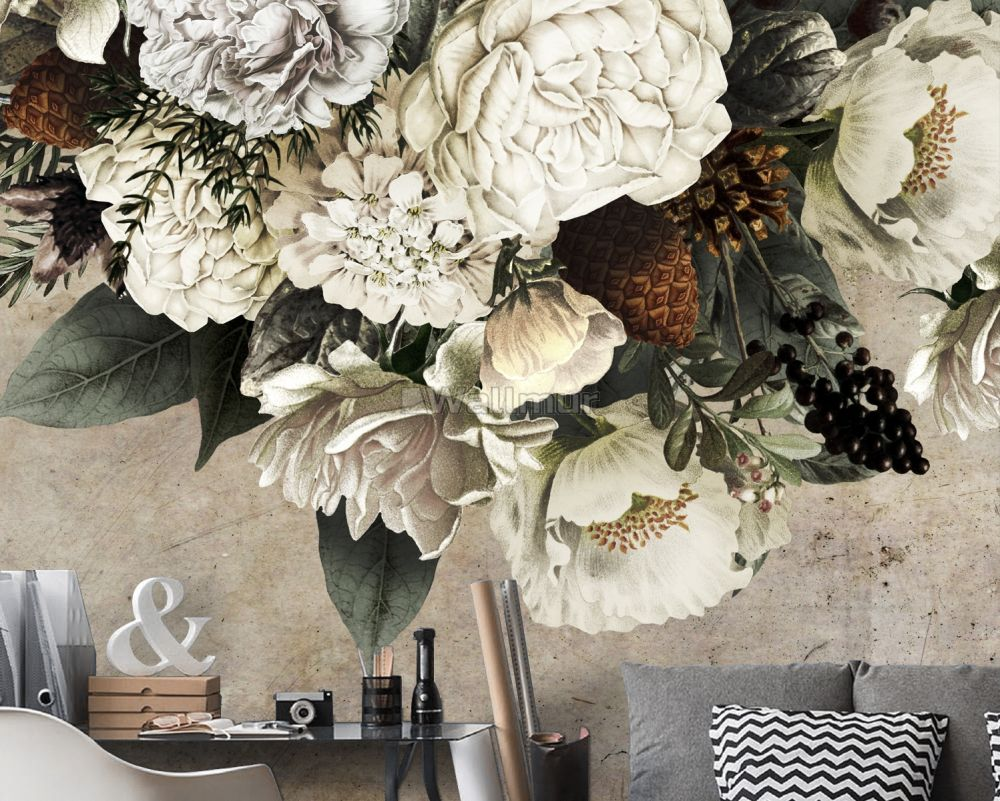 Dark Floral Bouqet Wallpaper Mural Wallmur