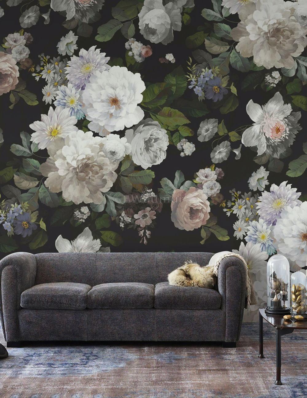 Dark Floral And White Peony Blossoms Wallpaper Mural Wallmur