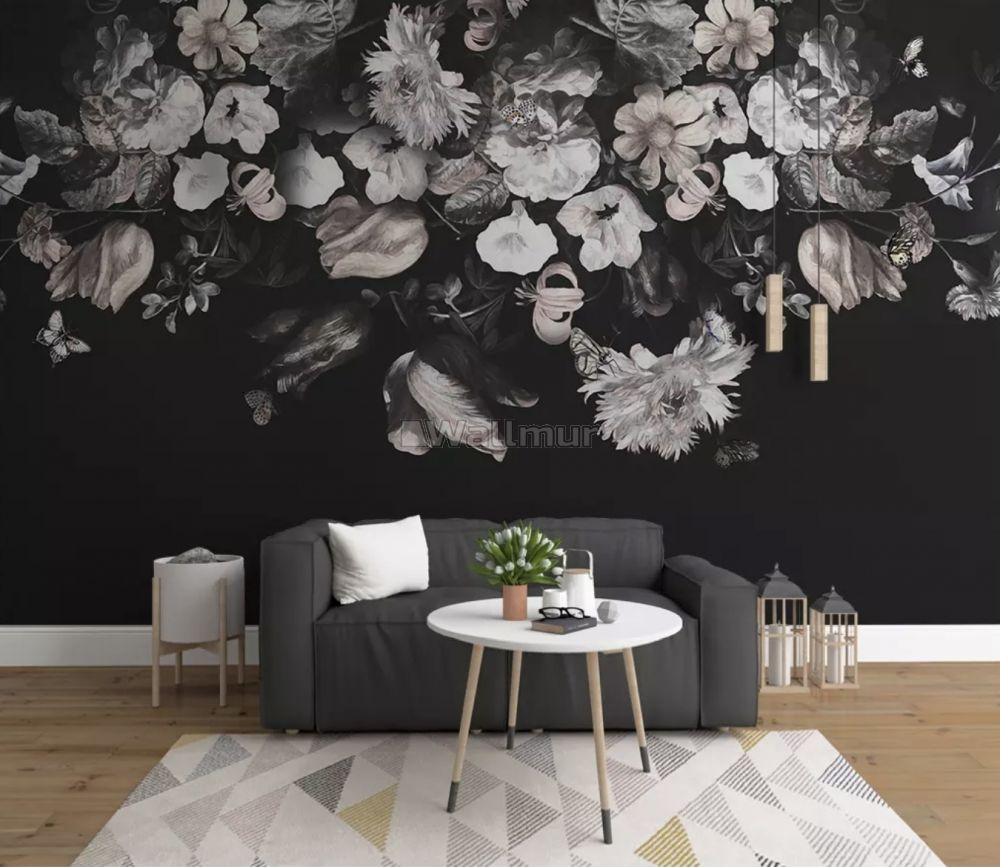 Dark Floral Wallpaper Mural Wallmur