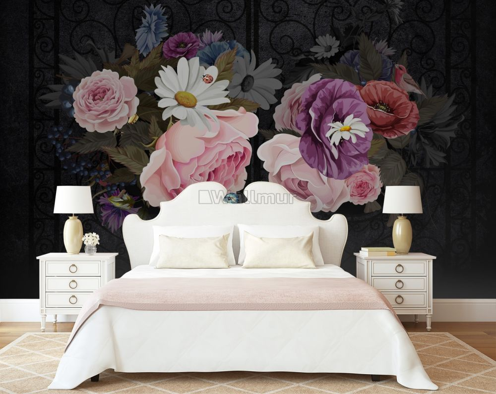 Dark Floral With Colorful Peony Wallpaper Mural Wallmur