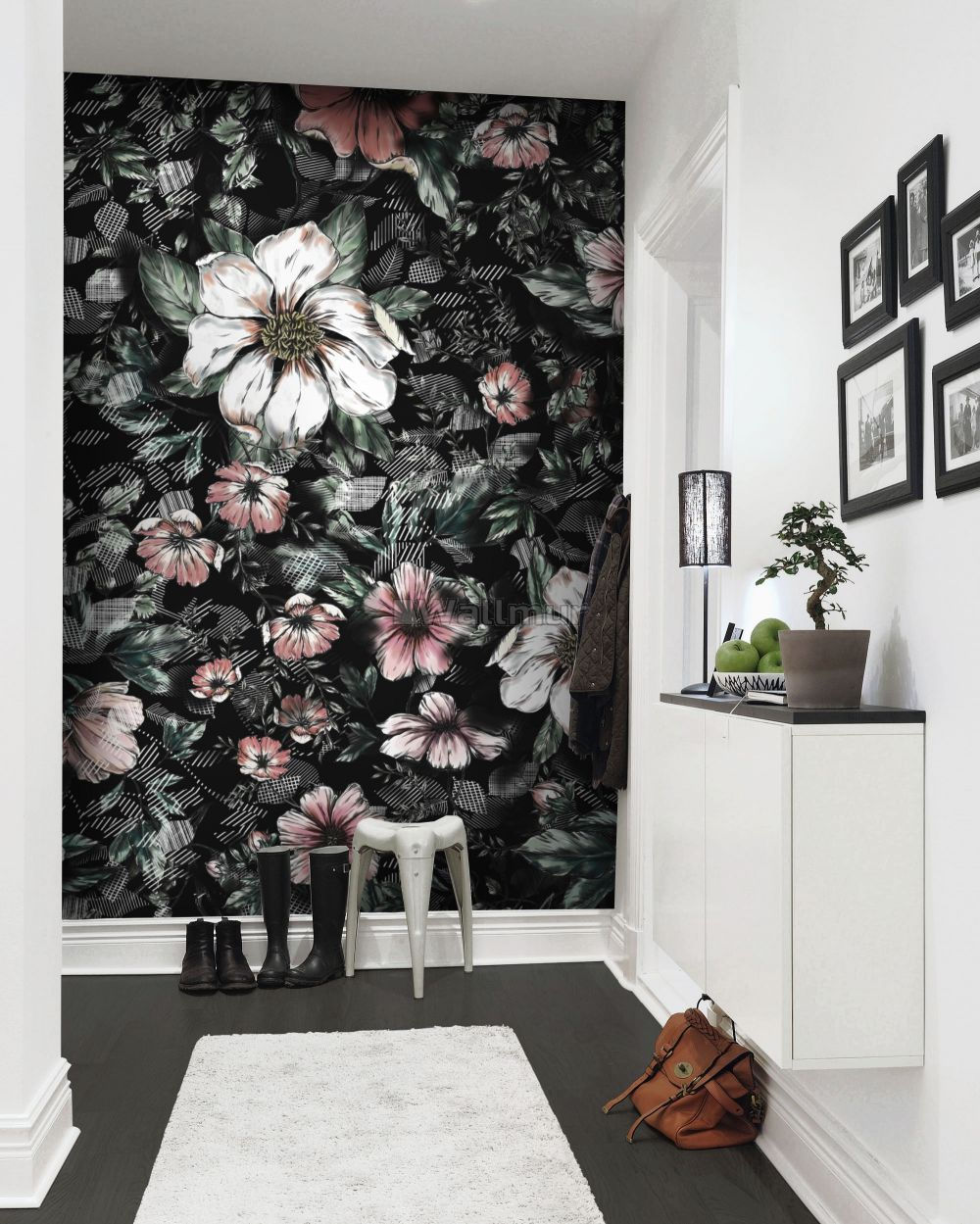 Dark Floral With White Daisy Wallpaper Mural Wallmur