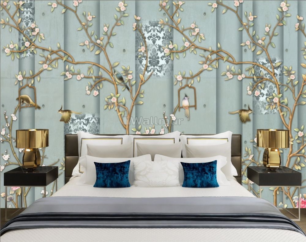 Chinese Style Vintage Floral Blossom Wallpaper Mural Wallmur