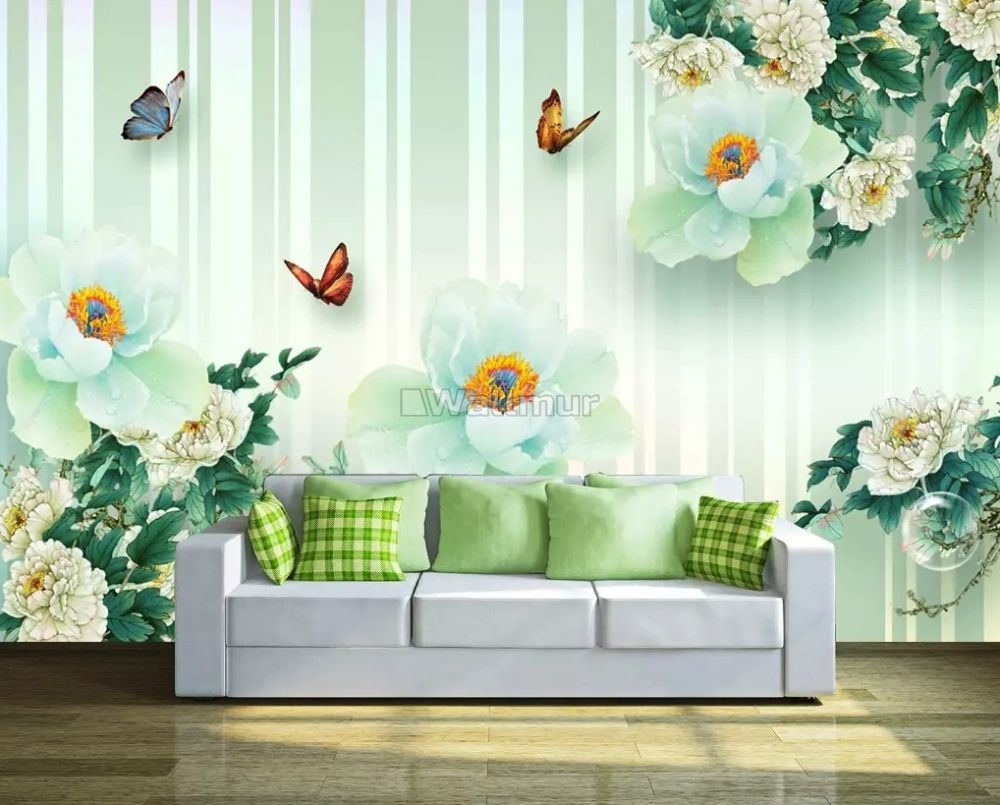 Brown Floral With Colorful Butterfly Wallpaper Mural