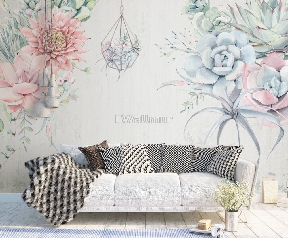 Pink Blue Soft Floral Wallpaper Mural Wallmur