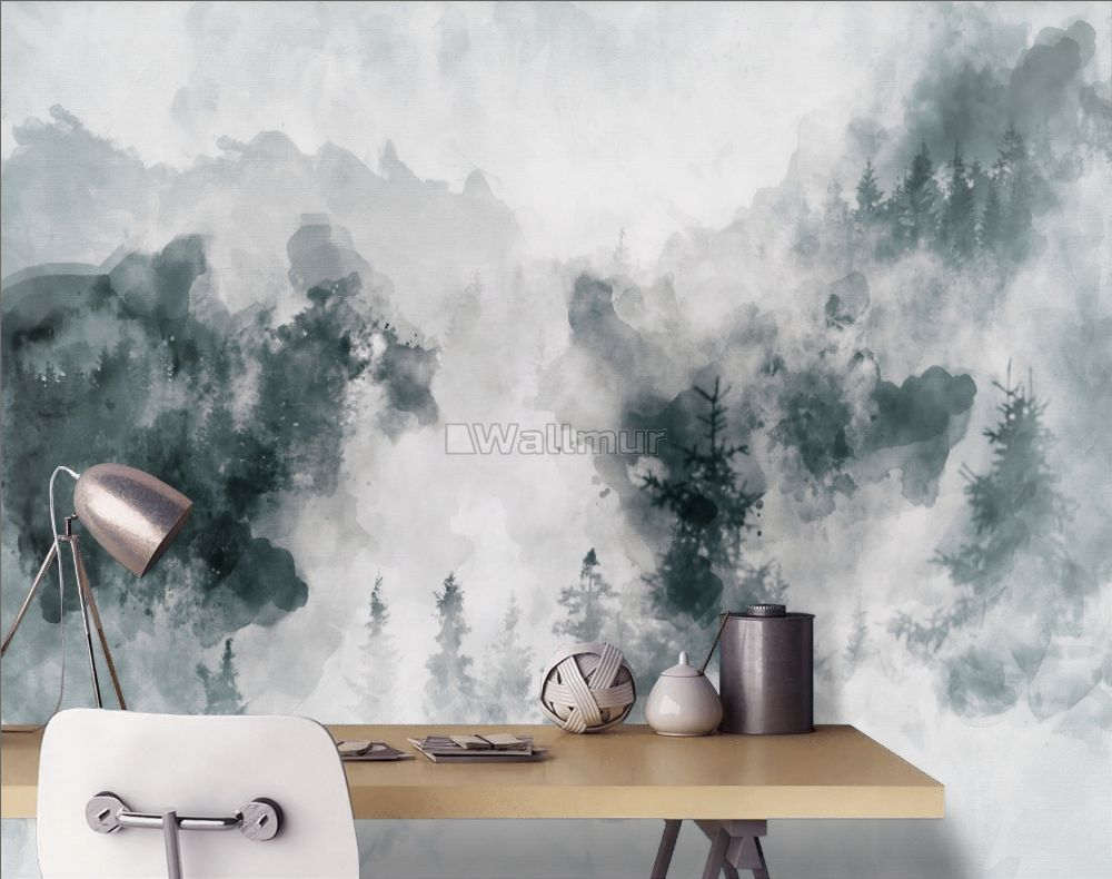 Watercolor Style Abstract Misty Dark Forest Wallpaper Mural Wallmur