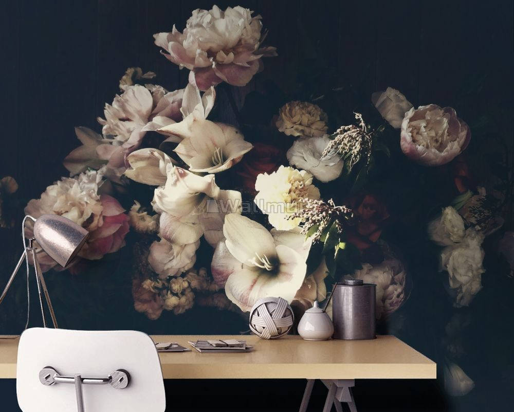 Dutch Dark Floral Wallpaper Mural Wallmur