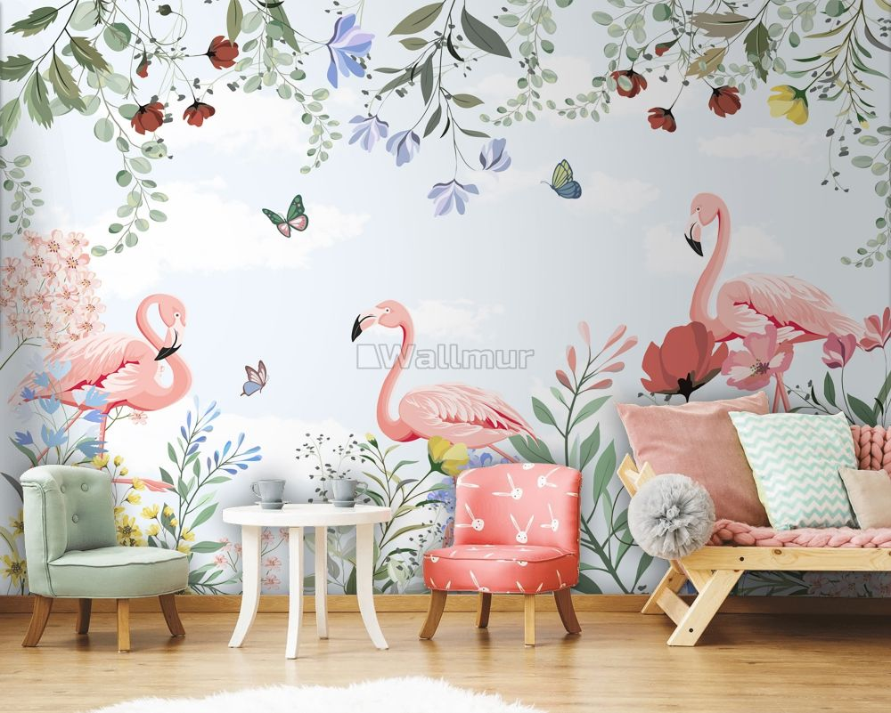 Flamingo With Colorful Floral Wallpaper Mural Wallmur