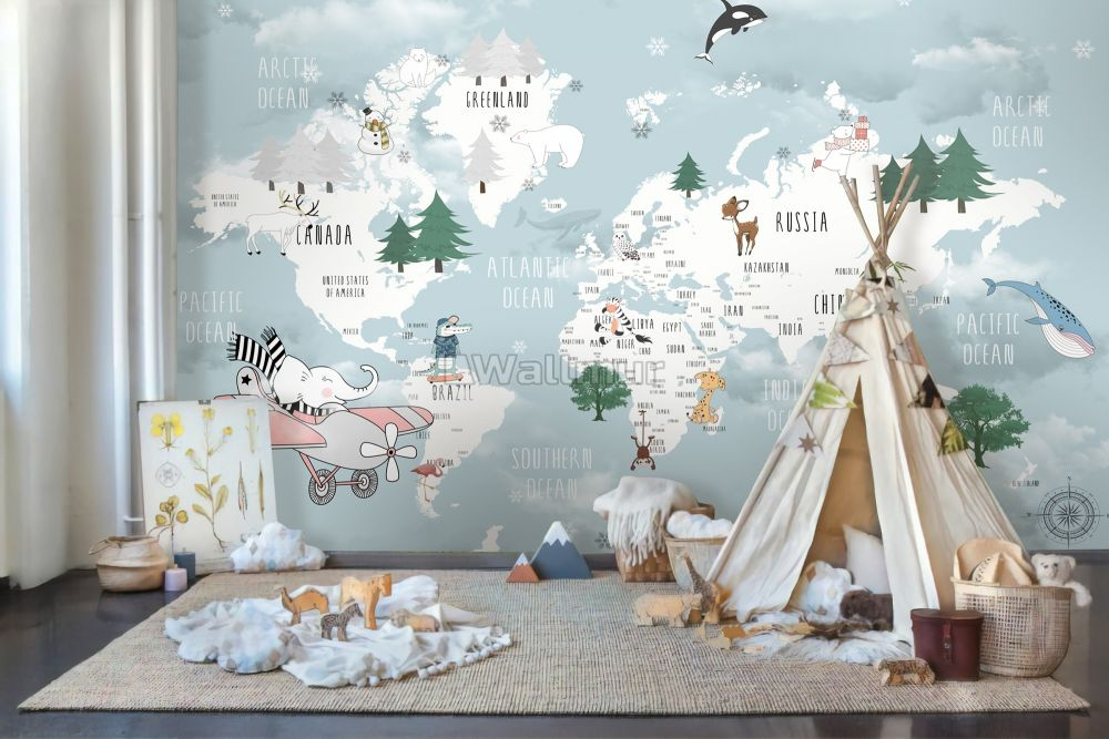 Kids Blue World Map With Cute Animals With Flying Elephant