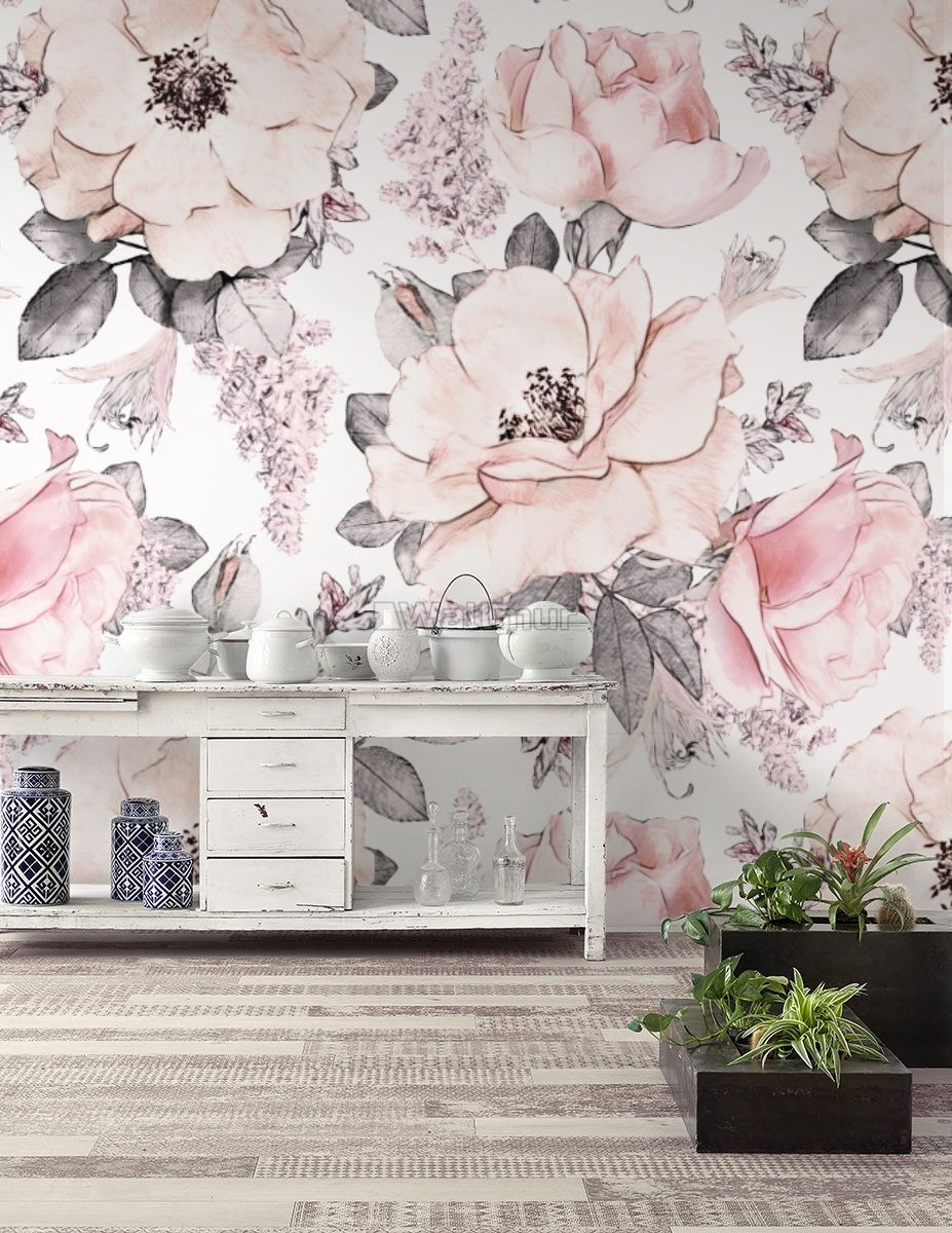 Kids Floral Pink Rose Pattern Wallpaper Mural Wallmur