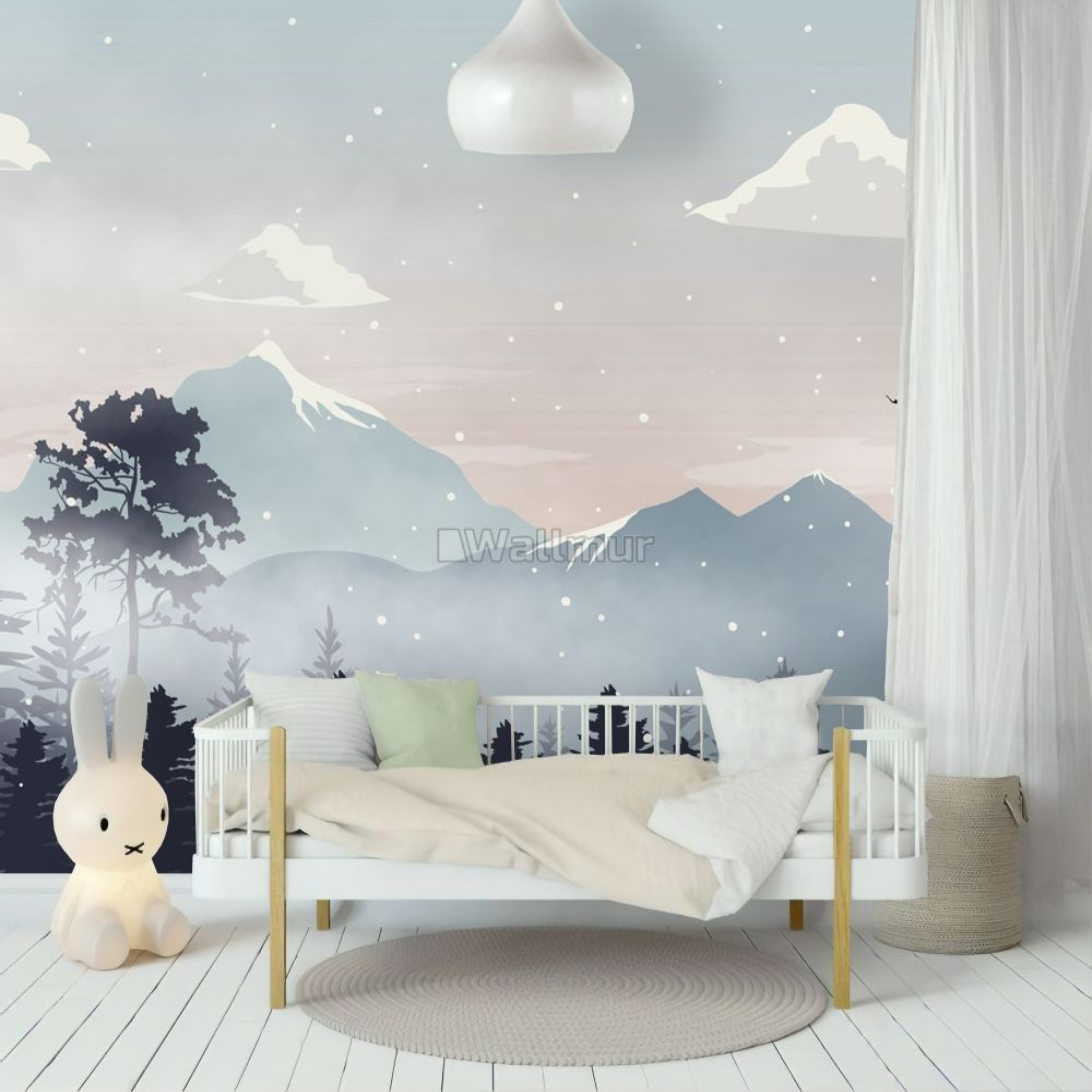 Kids Mountain Landscape With Snow Wallpaper Mural Wallmur