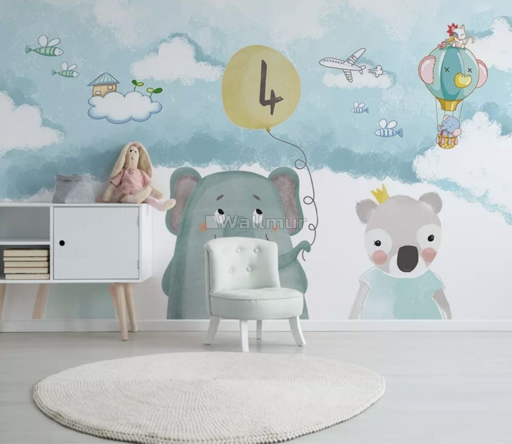 Elephant And Bears On The Clouds Wallpaper Mural
