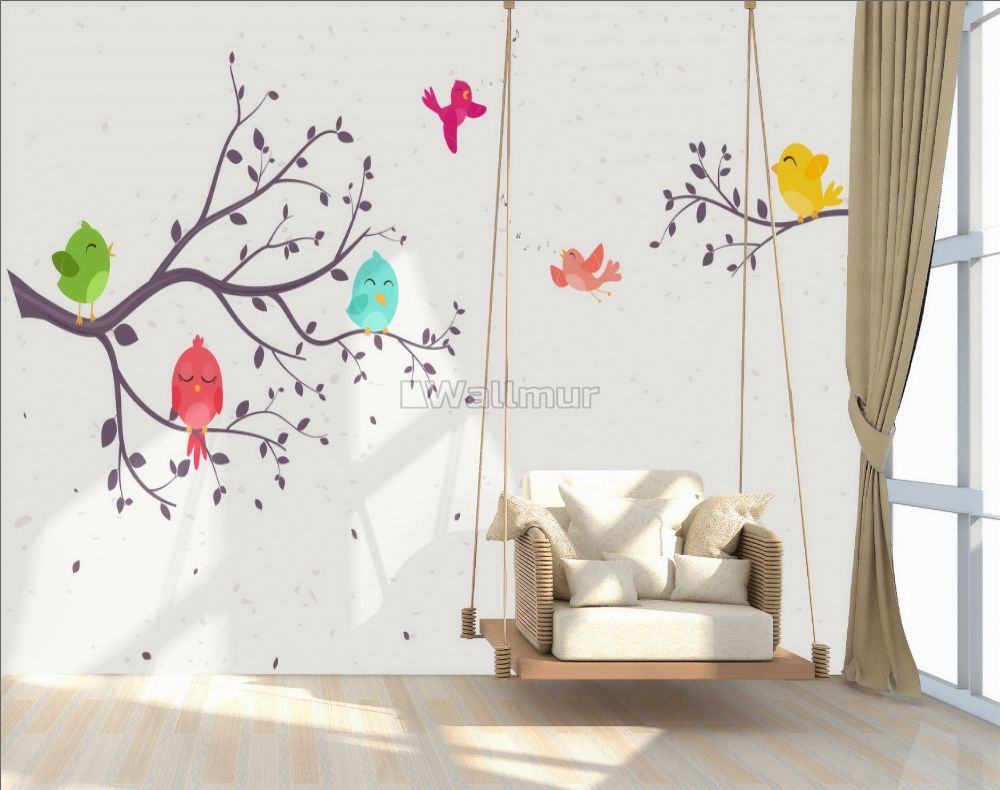 Kids Cartoon Tree With Colorful Singing Birds Wallpaper Mural