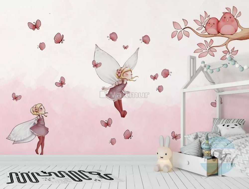 Butterfly Girl And Pink Butterflies Wallpaper Mural