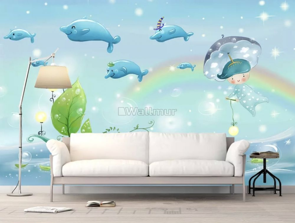 Cartoon Whales And Rainbow Wallpaper Mural