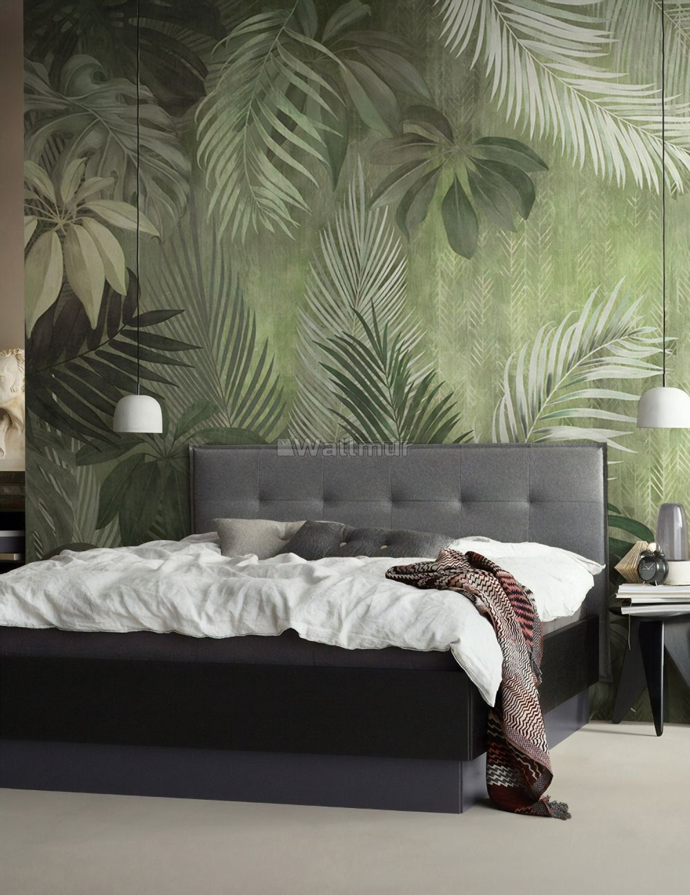 Monochrome Palm Leaf Wallpaper Mural