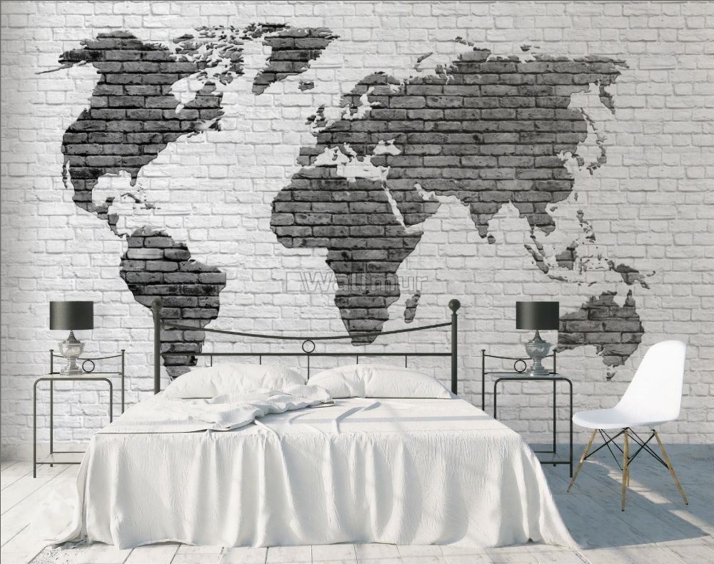 black white brick world maps wallpaper mural wm 4425180431ss 31480667