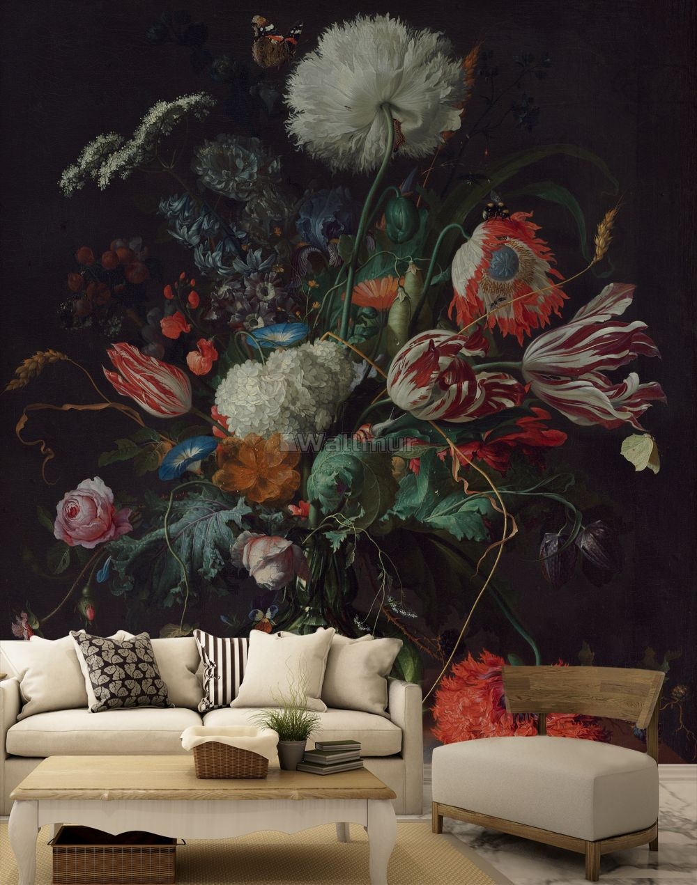Dark Floral Bouqet With Tulips And Roses Wallpaper Mural Wallmur