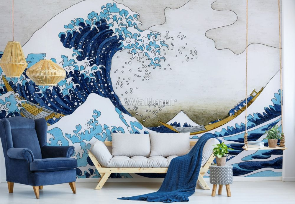 Vintage Wave Drawing Wallpaper Mural Wallmur