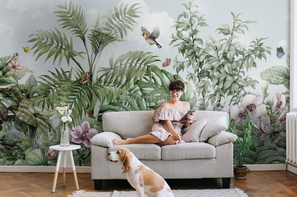 Tropical Leaves With Birds And Florals Wallpaper Mural Wallpaper Wallmur