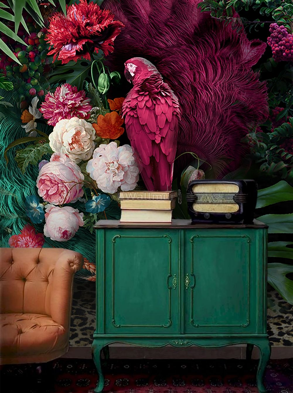 Pink Parrot With Colorful Floral Wallpaper Mural Wallmur