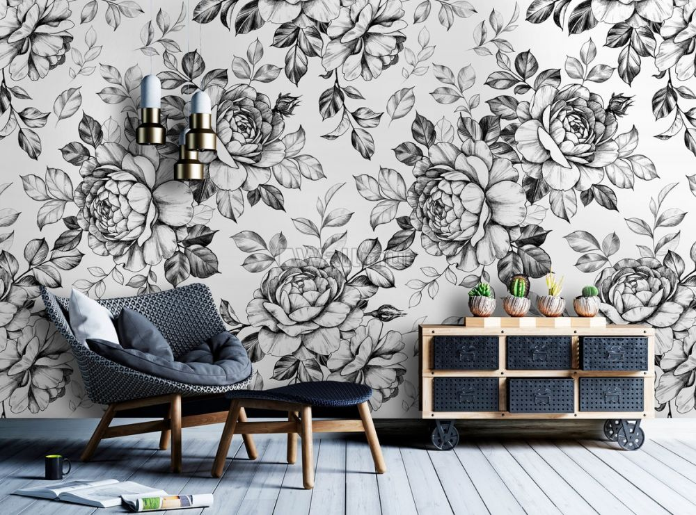 black and white flower wallpaper mural wp 2151762941ss 31482468