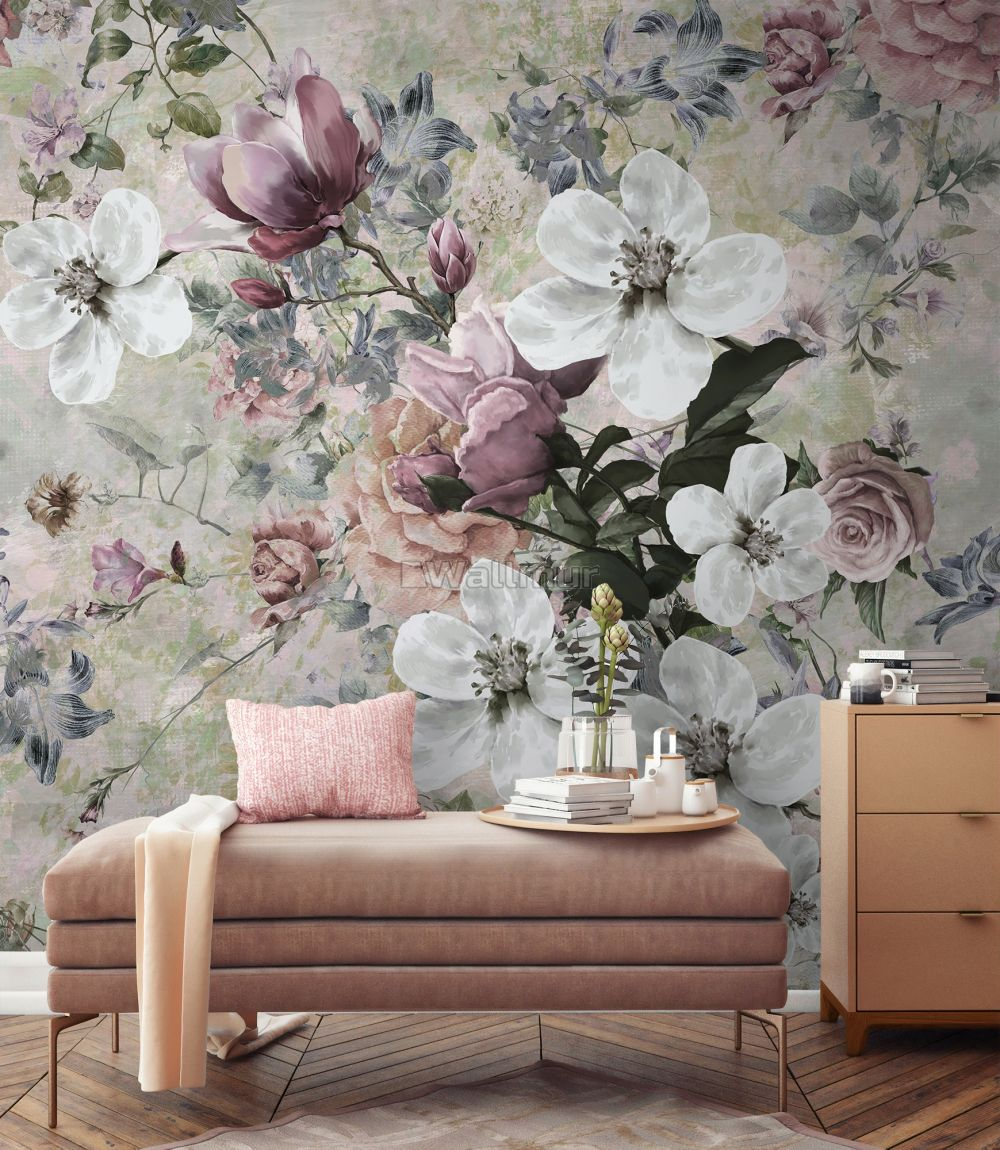 Watercolor Vintage Floral Wallpaper Mural Wallpaper Wallmur
