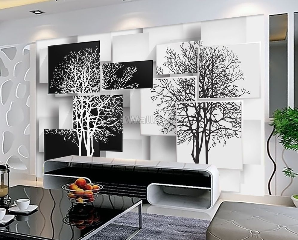 black white tree with abstract cube wallpaper mural wm 00074161 31477780