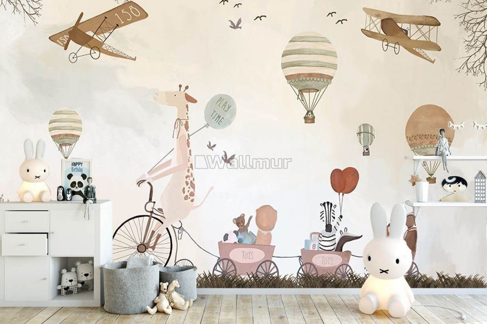 Vintage Kids Hot Air Balloon With Aircraft