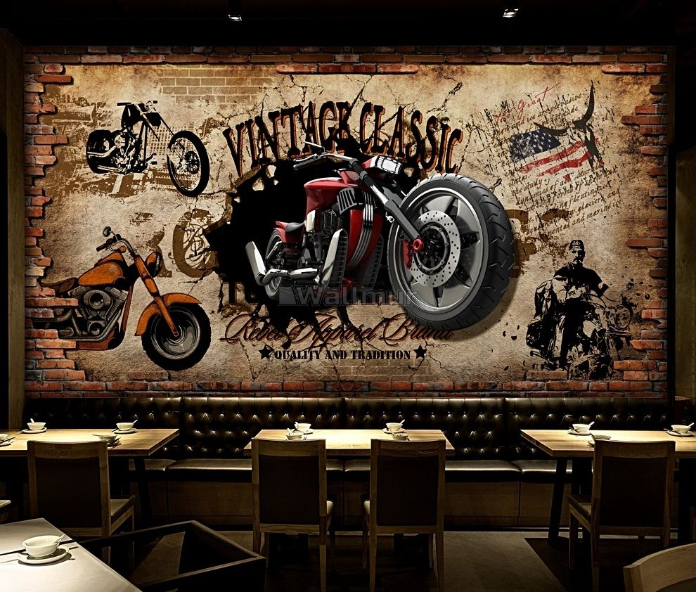 Vintage Motorbike With American Flag Wallpaper Mural Wallmur