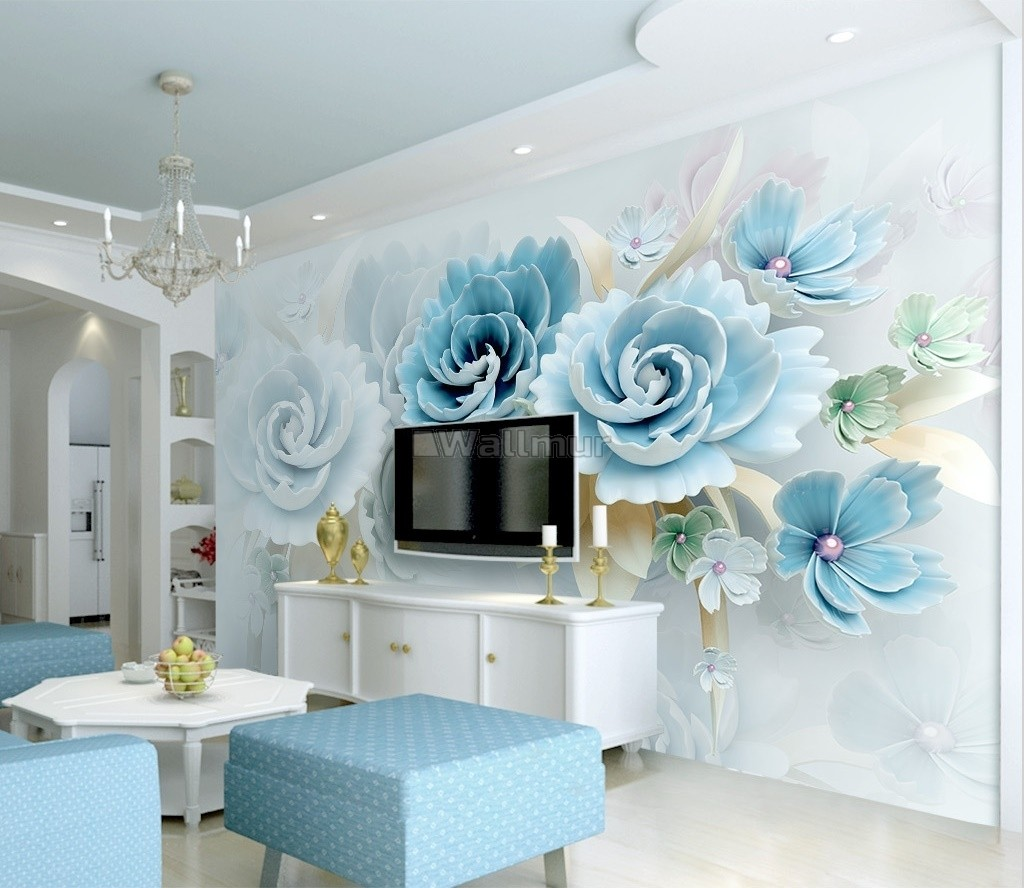 European Style 3d Look Blue Green Floral Wallpaper Mural Wallmur