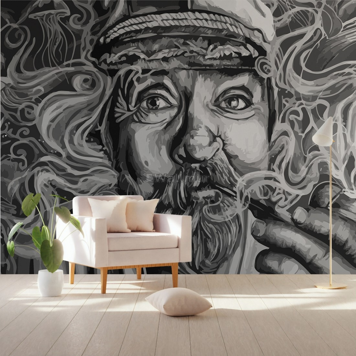 Grayscale Smoker Man Wallpaper Mural