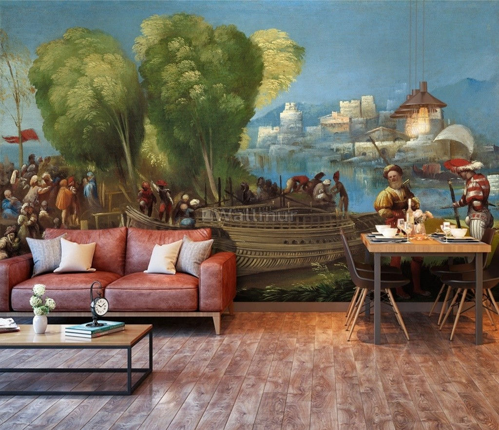 Medieval Lake Landscape with Boats Wallpaper Mural