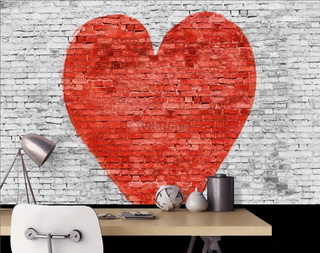 Red Heart with White Brick Wallpaper Mural