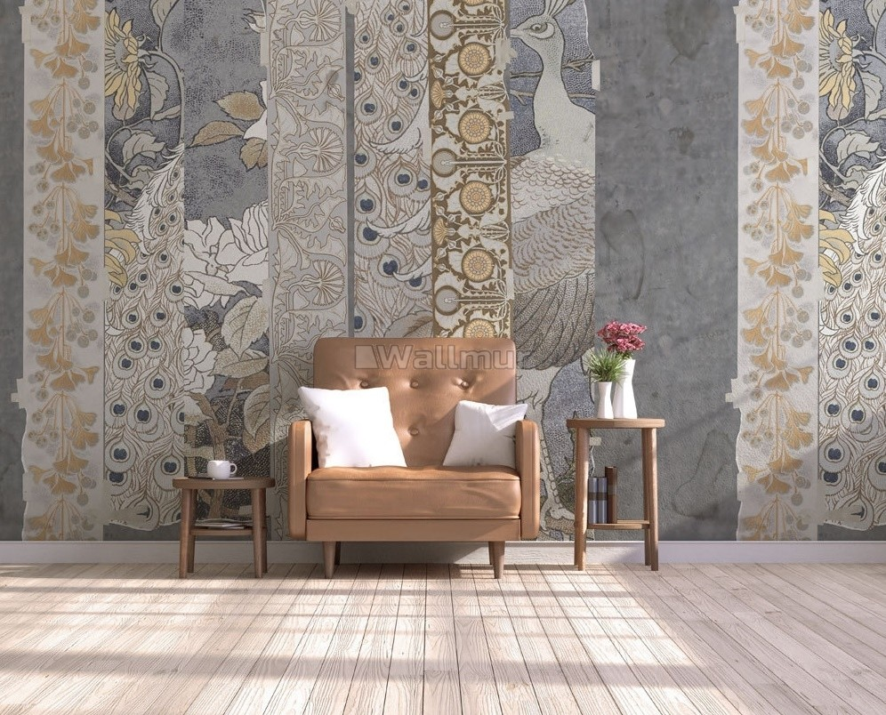Chinoserie Brown Peacock Pattern Wallpaper Mural